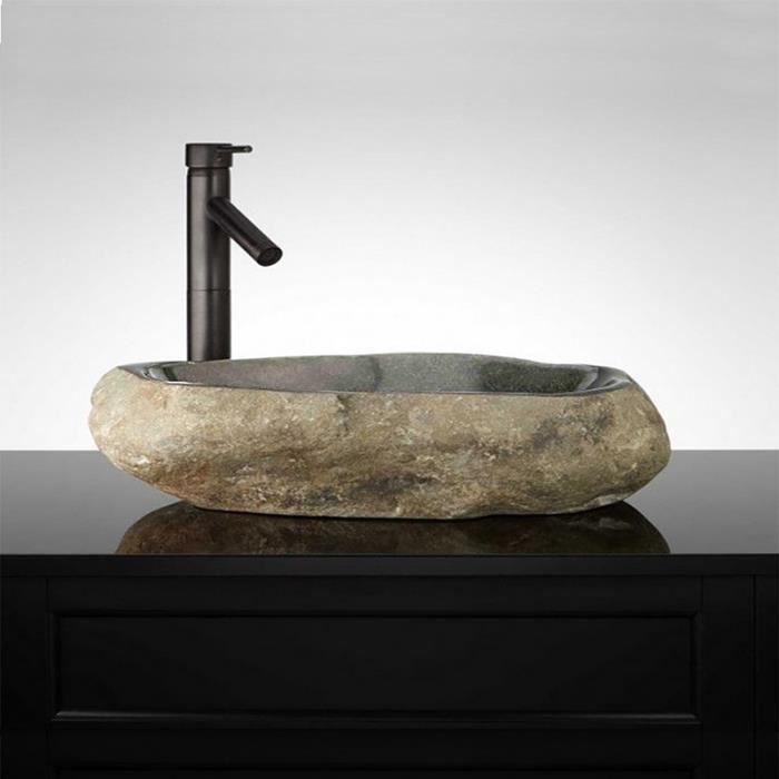 vasque poser 60 cm en pierre de rivi re gal o grise achat vente lavabo vasque vasque. Black Bedroom Furniture Sets. Home Design Ideas