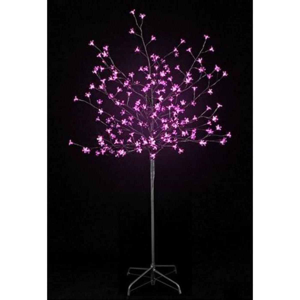 Arbre prunus lumineux 200 led en rose 150 cm achat - Arbre lumineux exterieur noel ...