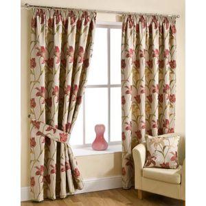 rideaux fleurs rouge achat vente rideaux fleurs rouge pas cher cdiscount. Black Bedroom Furniture Sets. Home Design Ideas