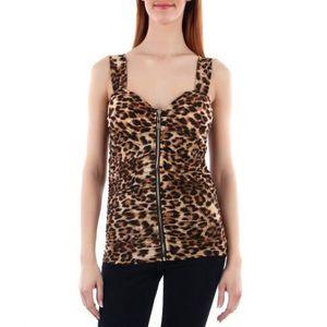 T-SHIRT Top imprimé léopard et zip
