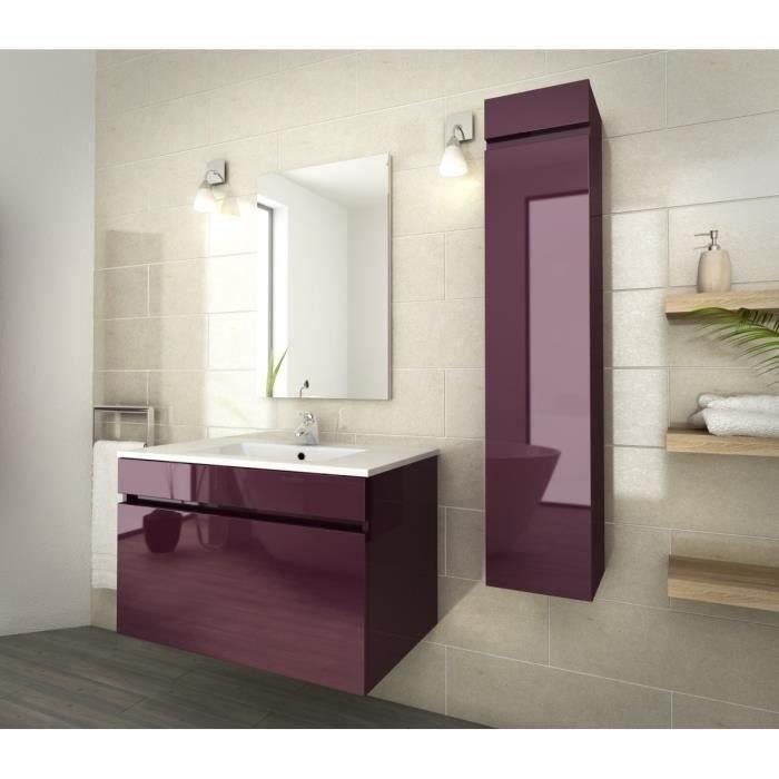 Luna ensemble de salle de bain 80 cm aubergine vernis - Salle de bain couleur aubergine ...