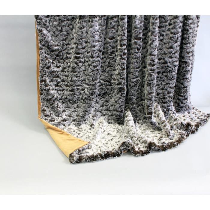 couverture plaid polaire de luxe opossum marron clair 150 cm x 200 cm achat vente. Black Bedroom Furniture Sets. Home Design Ideas