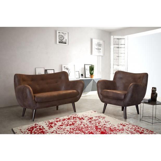 canap adele 2 places chocolat canap sofa divan achat vente canap sofa divan cdiscount. Black Bedroom Furniture Sets. Home Design Ideas