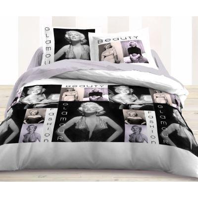 housse de couette et taie d 39 oreiller glamour achat vente housse de couette cdiscount. Black Bedroom Furniture Sets. Home Design Ideas