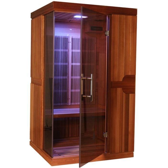 Sauna infrarouge celeno 1 place red cedar achat vente for Sauna exterieur occasion