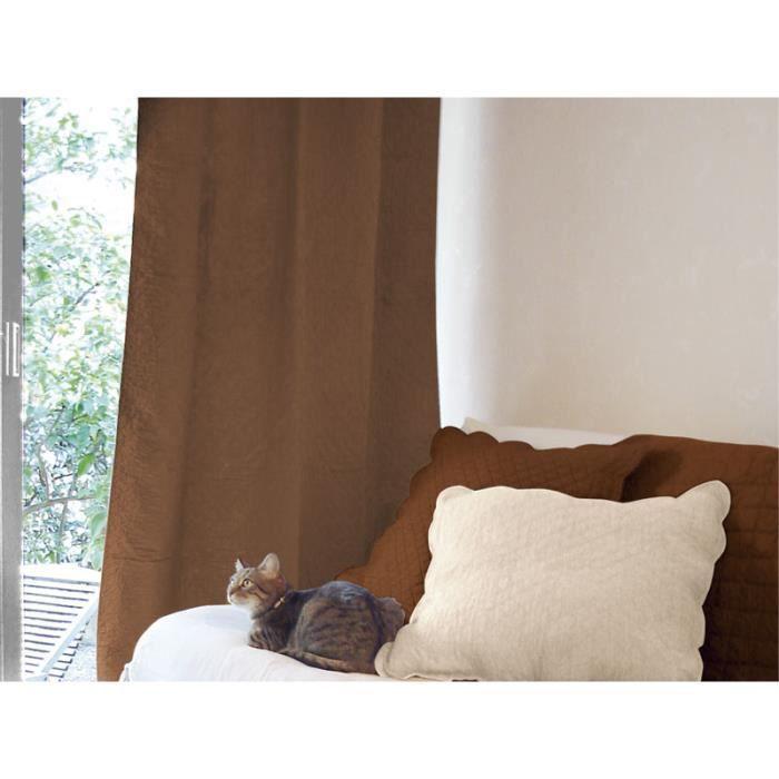 rideau pattes boutis coton chocolat achat vente. Black Bedroom Furniture Sets. Home Design Ideas