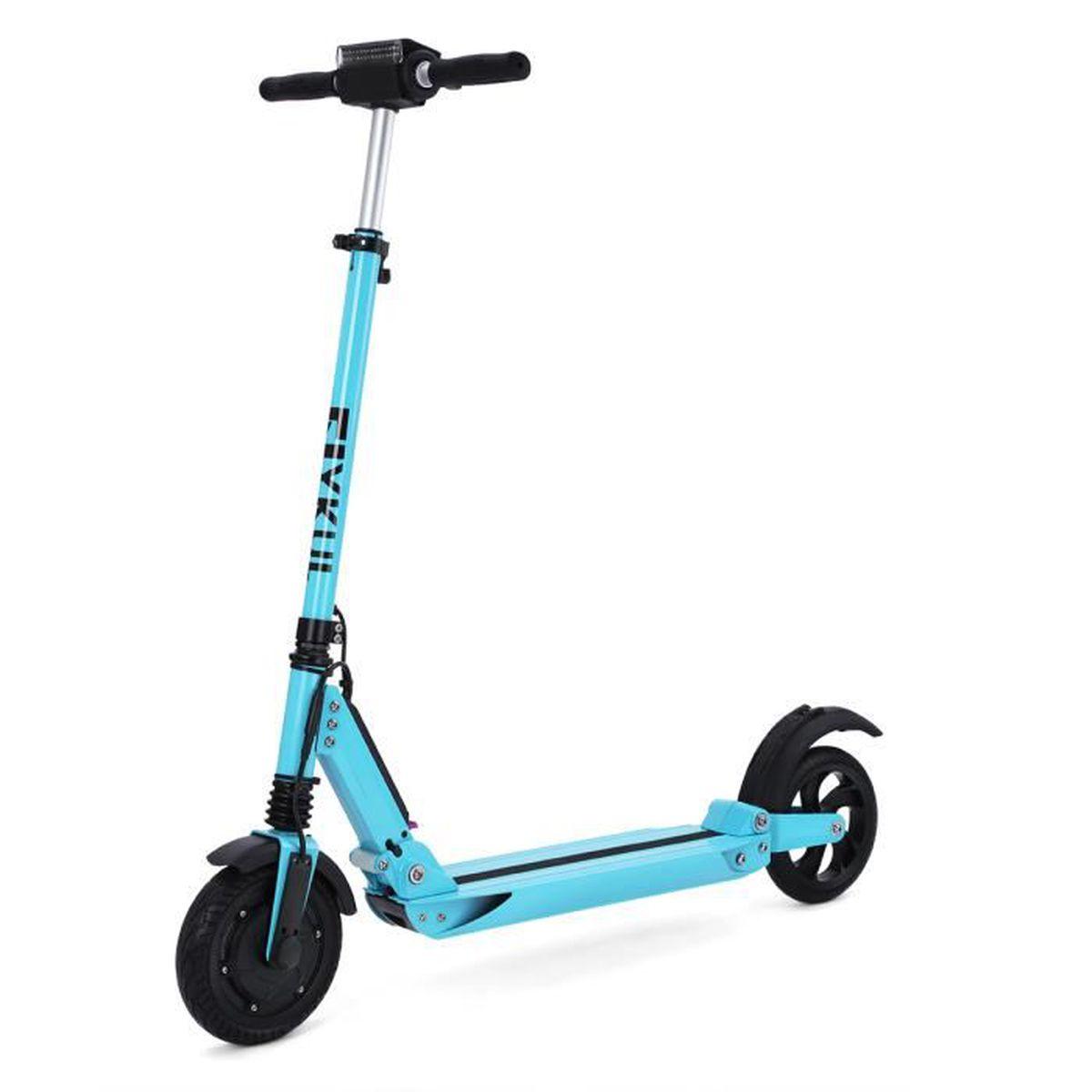 flykul 8 l ger e scooter electrique trottinette pocket bike bleu avec lumi res max charge 120kg. Black Bedroom Furniture Sets. Home Design Ideas