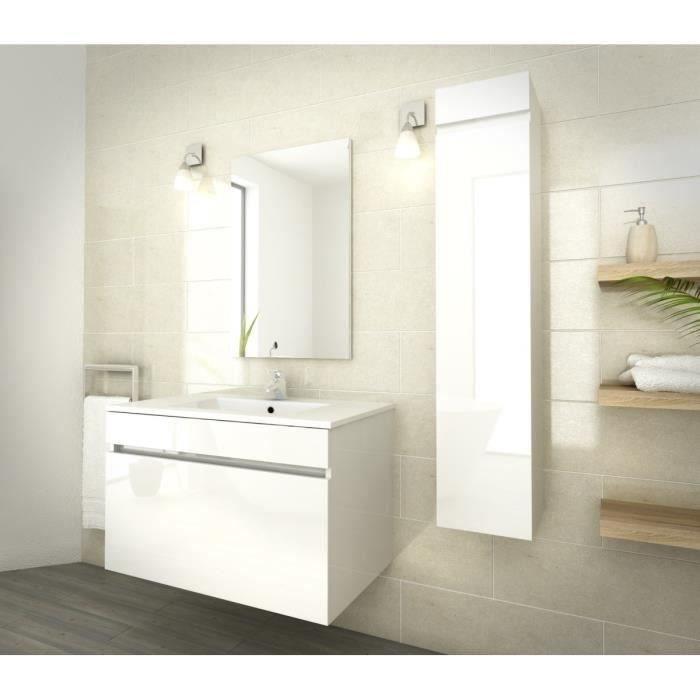 Luna salle de bain compl te simple vasque l 80 cm blanc - Salle de bain simple ...