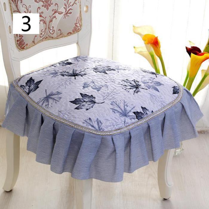 coussin galette de si ge dessus de chaise en tissu style pastoral avec large dentelle d cor. Black Bedroom Furniture Sets. Home Design Ideas