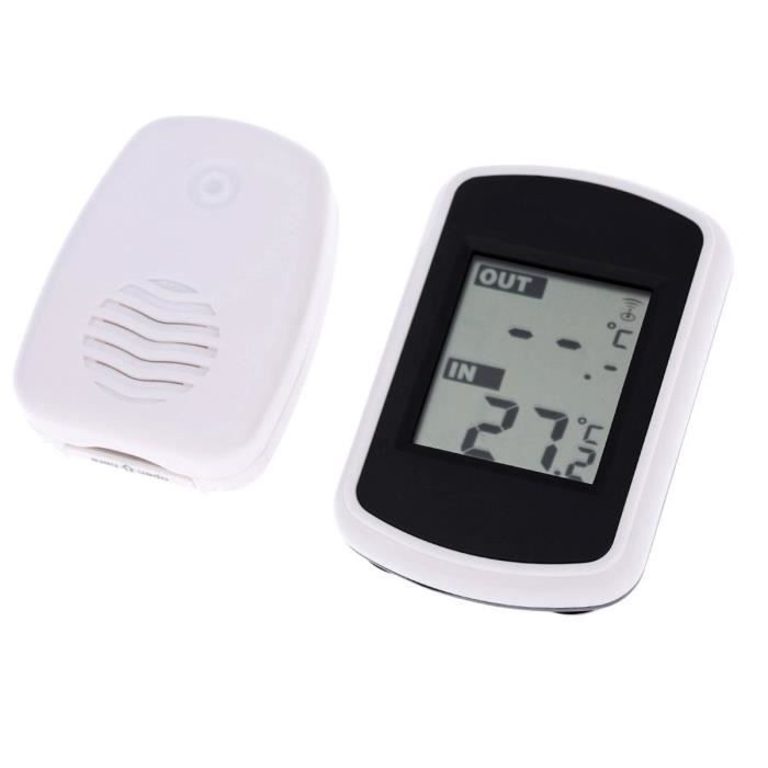 Lcd station m t o ext rieur int rieur humidit thermom tre for Thermometre sans fil interieur exterieur