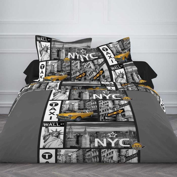 housse de couette nyc taxi 240x260 cm pour lit deux. Black Bedroom Furniture Sets. Home Design Ideas