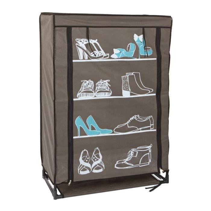 Armoire chaussure 90cm marron bleu paris prix for Meuble a chaussure paris