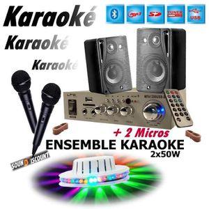 PACK SONO KARAOKÉ ENFANTS + JEU DE LUMIERE + 1 AMPLI USB MP3