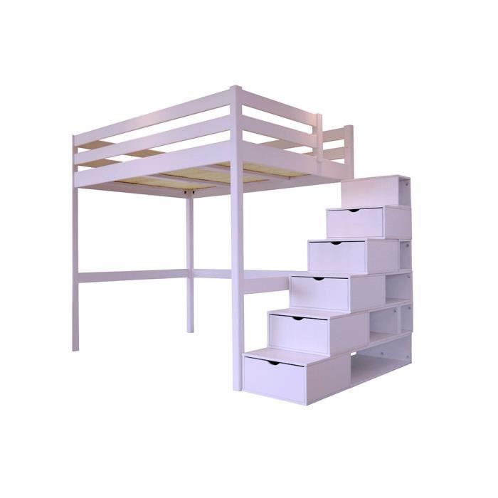 Lit mezzanine sylvia avec escalier cube bois achat Lit mezzaclic 140x190