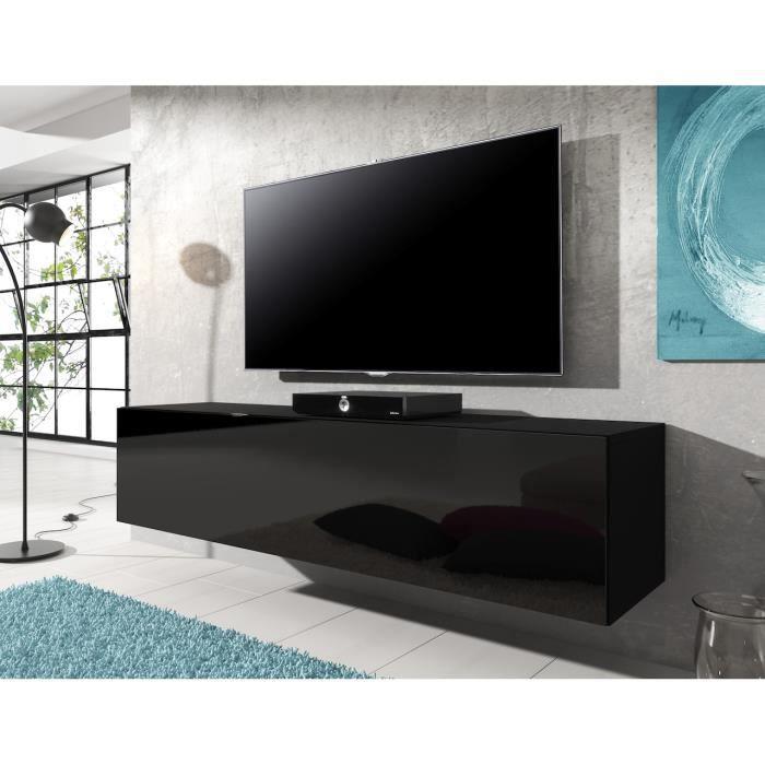 meuble tv flottant rocco noir 140 cm achat vente