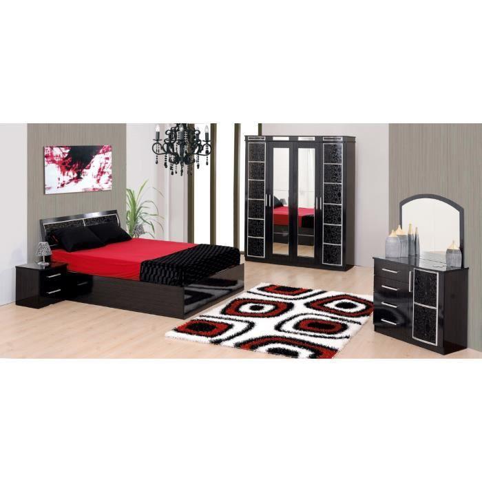 Chambre compl te nora noir armoire 4 portes achat for Chambre complete noir