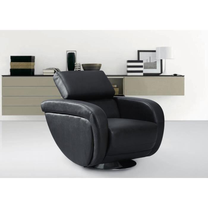 fauteuil pivotant rotari en cuir noir achat vente fauteuil cuir eucalyptus m tal. Black Bedroom Furniture Sets. Home Design Ideas