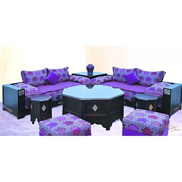 salon marocain moderne menara haut de gamme en bois de htre verni - Housse Salon Marocain Mantes La Jolie