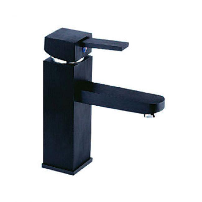robinet salle de bain de couleur noir design contemporain et de corps en forme de rectangulaire. Black Bedroom Furniture Sets. Home Design Ideas