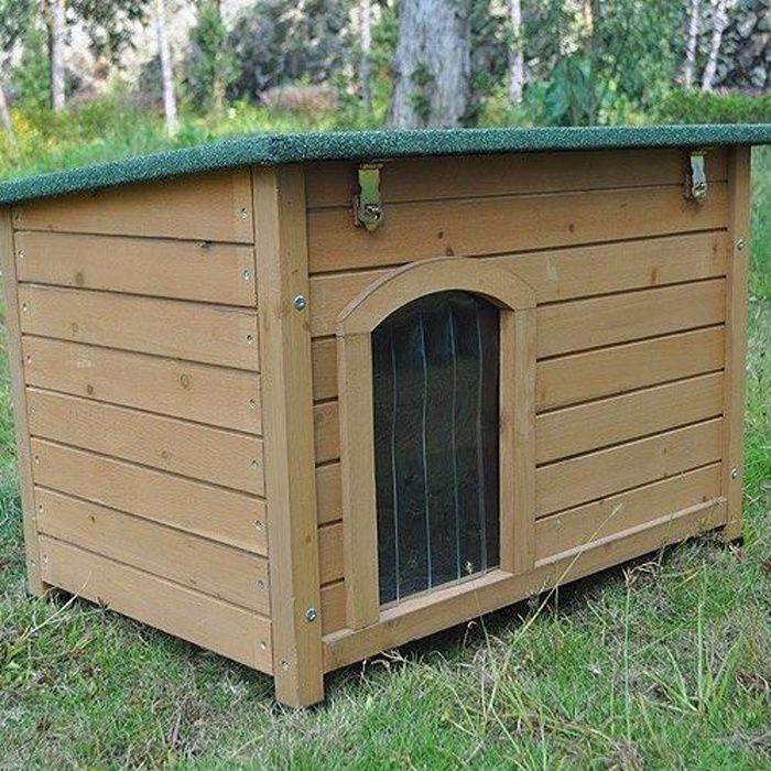 niche pour chien en bois avec toit inclin achat vente. Black Bedroom Furniture Sets. Home Design Ideas