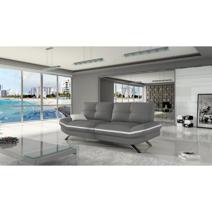 Canap 3 places miami cuir pu antracite blanc achat vente canap sofa - Canape cuir blanc 3 places ...