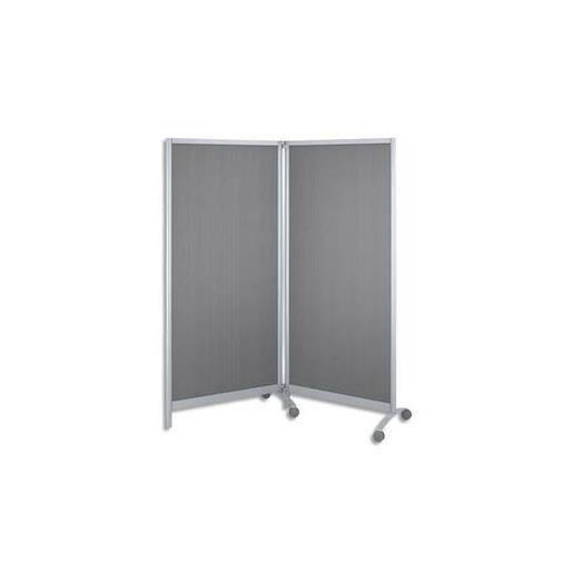 lot 2 cloisons mobiles pieds roulettes cadre acier teinte alu panneau gris 76x170x2cm. Black Bedroom Furniture Sets. Home Design Ideas