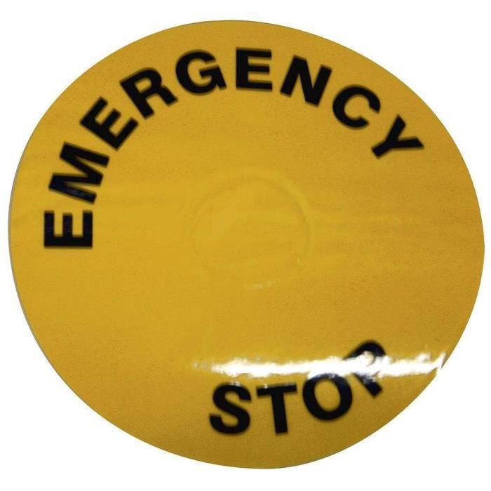 Avertisseur - Arrêt d'urgence Etiquette jaune pour arrêt d'urgence