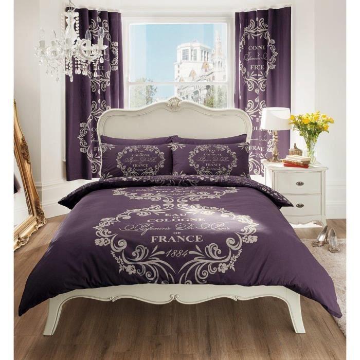 parure de lit eau de cologne violet 160cm achat vente. Black Bedroom Furniture Sets. Home Design Ideas