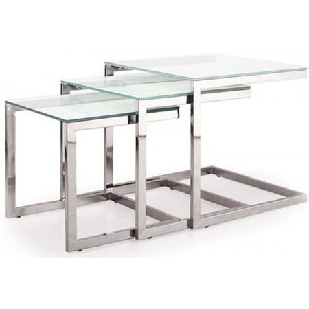 Trois tables gigognes en acier chrom julia achat for Table en acier
