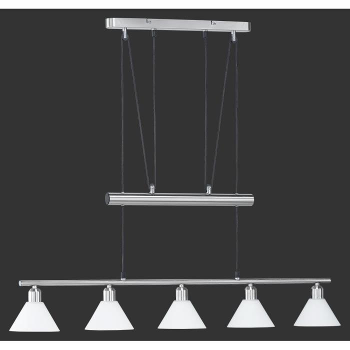suspension longue 102 cm 5 ampoules en nickel e achat vente suspension longue 102 cm 5. Black Bedroom Furniture Sets. Home Design Ideas