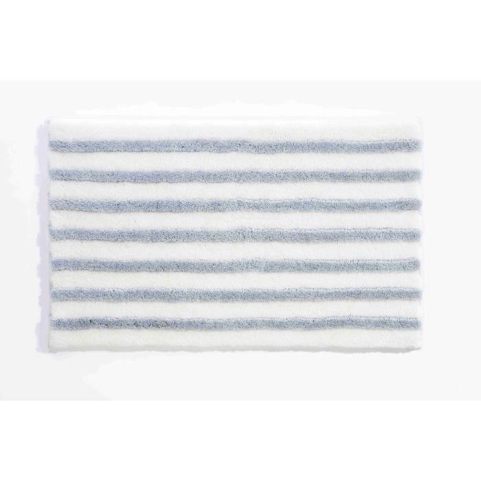Tapis de bain 70 x 120 cm acrylique blanc bleu achat vente tapis bain c - Contour de bain acrylique ...