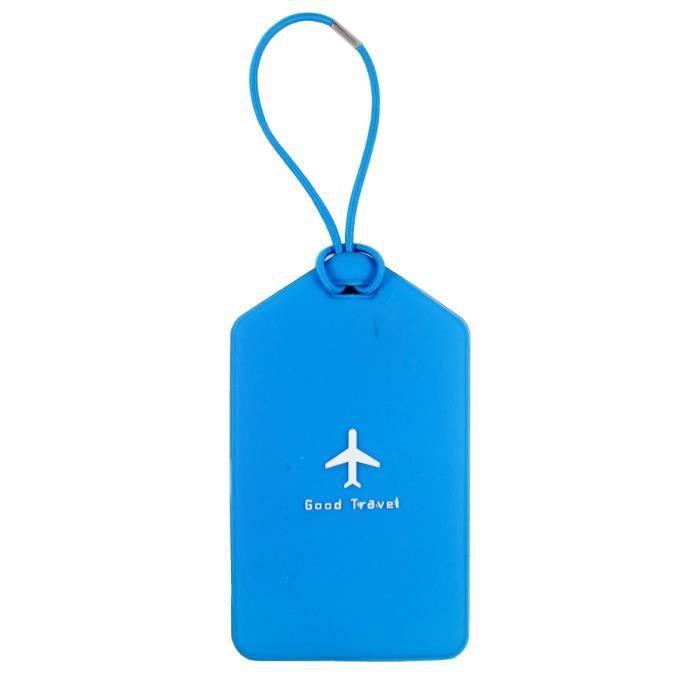 Porte etiquette nom adresse bagage bleu achat vente for 1 porte etiquette de voyage