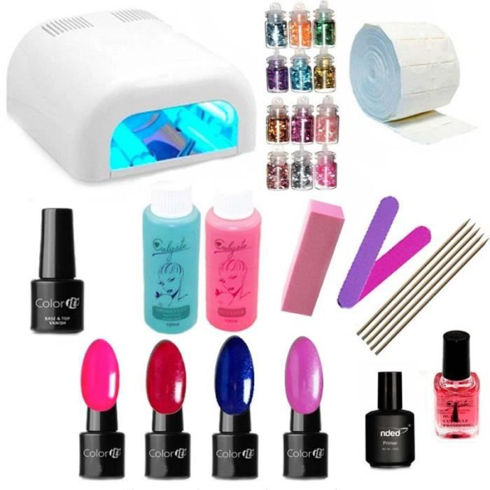 contenu complet du kit vernis semi permanent pour ongles lampe uv ongles lampe uv 36w blanche. Black Bedroom Furniture Sets. Home Design Ideas