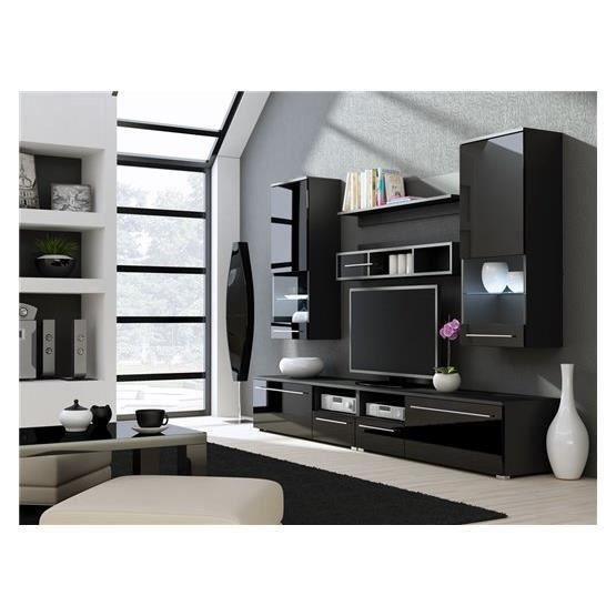 Meuble tv design park noir achat vente meuble tv for Meuble tv design noir