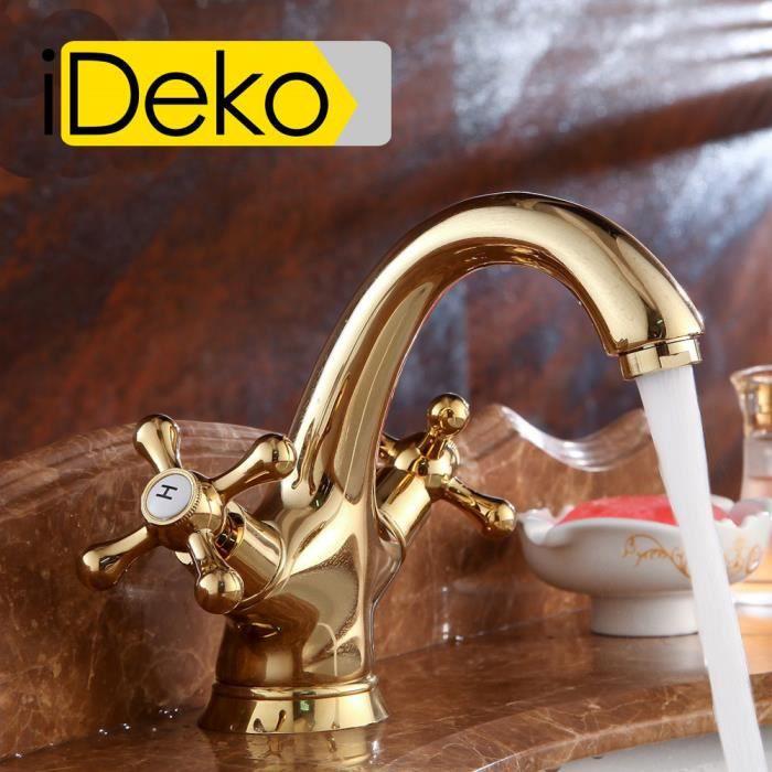 Ideko robinet mitigeur lavabo salle de bain en laiton style japonais dor arc du bec avec - Robinetterie laiton salle de bain ...