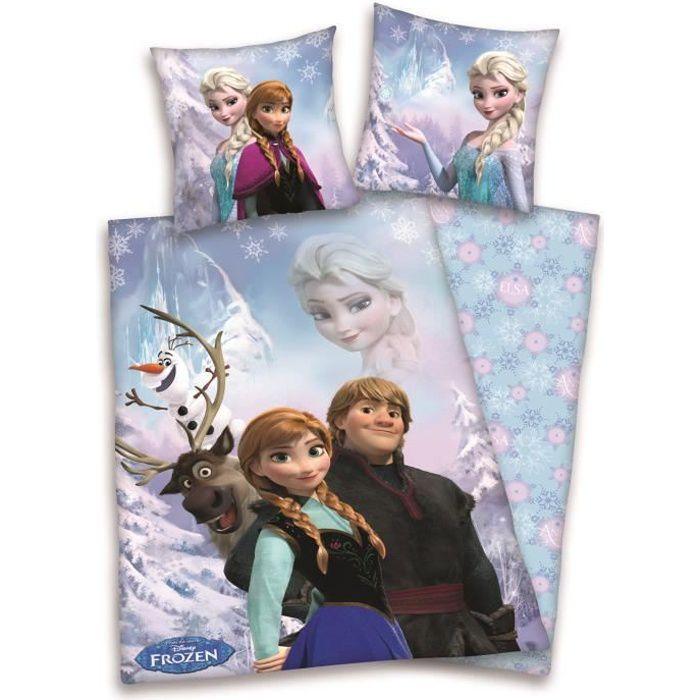 housse de couette enfant reine des neiges rose 140x200cm achat vente parure de couette. Black Bedroom Furniture Sets. Home Design Ideas