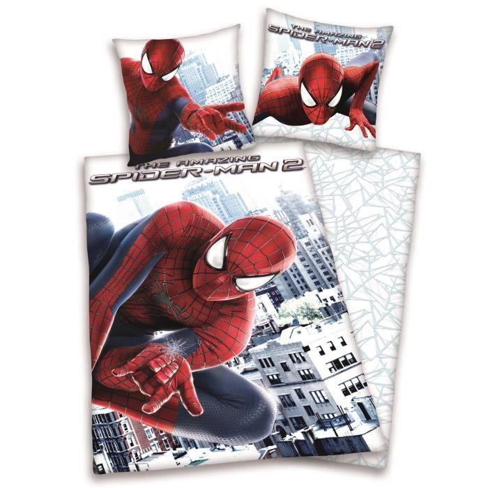 housse de couette enfant spiderman 140x200cm achat. Black Bedroom Furniture Sets. Home Design Ideas