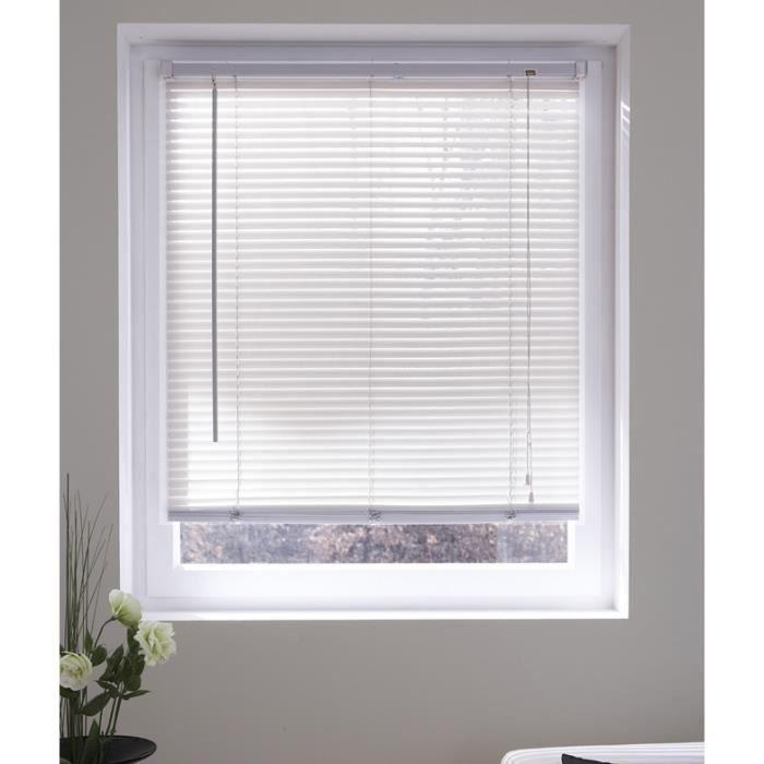 Store v nitien lame vinyle blanche 60x130cm achat for Store venitien cm largeur dijon