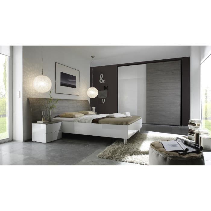 Chambre adulte design blanc armoire chambre adulte porte for Chambre complete adulte pas cher design