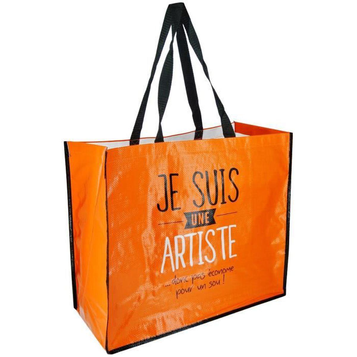 sac cabas pour courses shopping inscription fun je suis une artiste orange achat vente sac. Black Bedroom Furniture Sets. Home Design Ideas