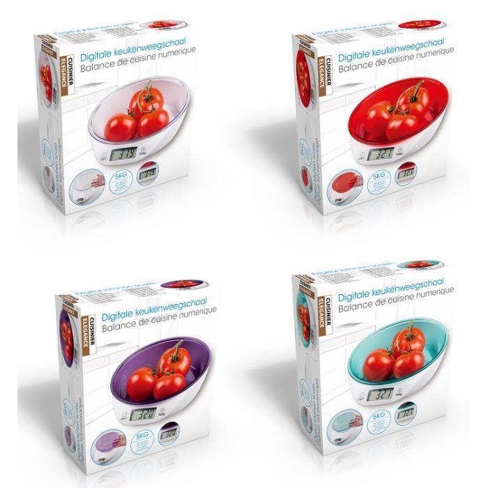 Balance de cuisine numerique 5kg pr cision 1gr mauve - Balance de cuisine precision 0 1 g ...