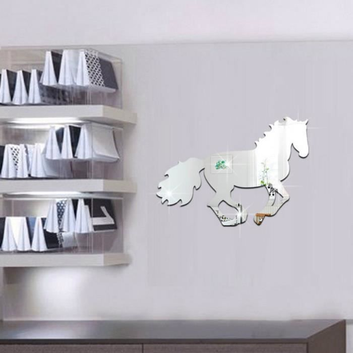 Cheval sticker miroir pour salon chambre tv fond sticker for Miroir stickers