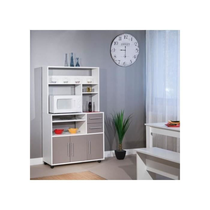 Buffet desserte micro ondes taupe blanc achat vente for Buffet cuisine soldes