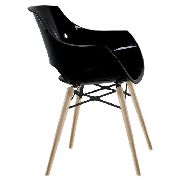 Chaise noire opal wox pieds bois naturel achat vente for Chaise 1 pied