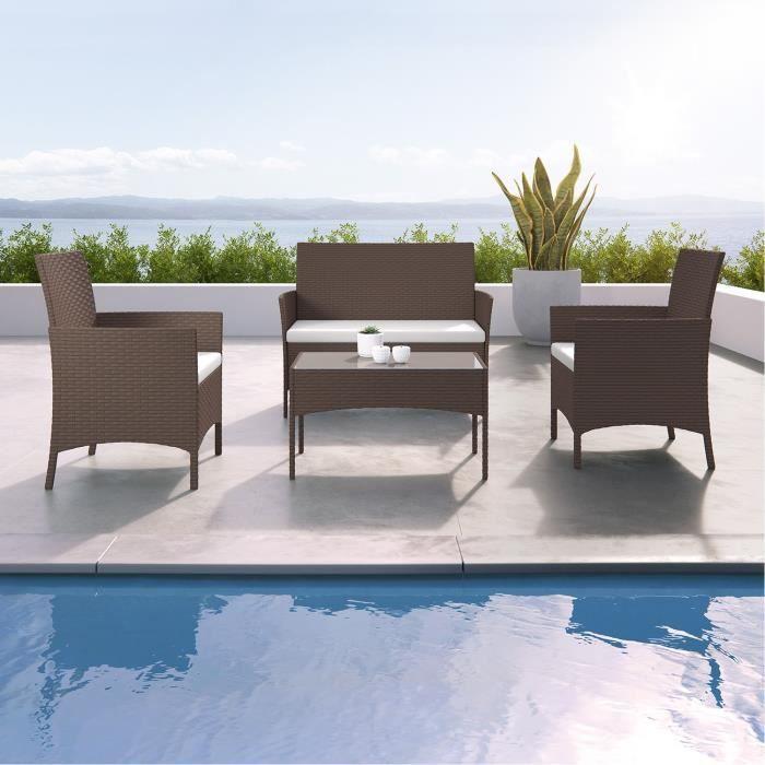 imora salon de jardin r sine tress e ensemble 4 places canap fauteuil table marron. Black Bedroom Furniture Sets. Home Design Ideas