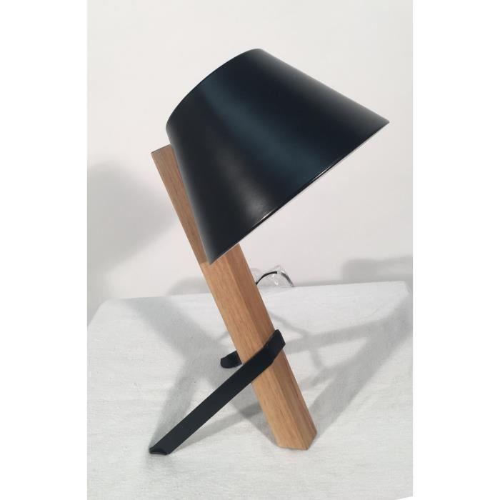 lampe de chevet poser m tal peint noir et bois. Black Bedroom Furniture Sets. Home Design Ideas