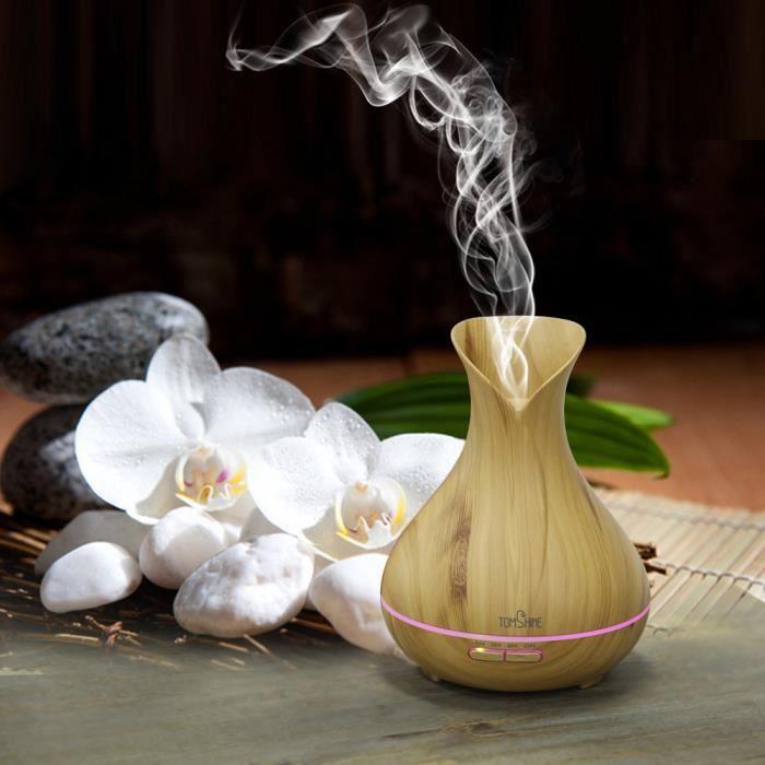 tomshine 7 couleur lampe 400ml humidificateur d 39 air frais huile essentielle aroma grain de bois. Black Bedroom Furniture Sets. Home Design Ideas