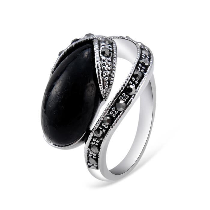 bague de mariage vintage noir onyx Noir - Achat / Vente bague - anneau ...