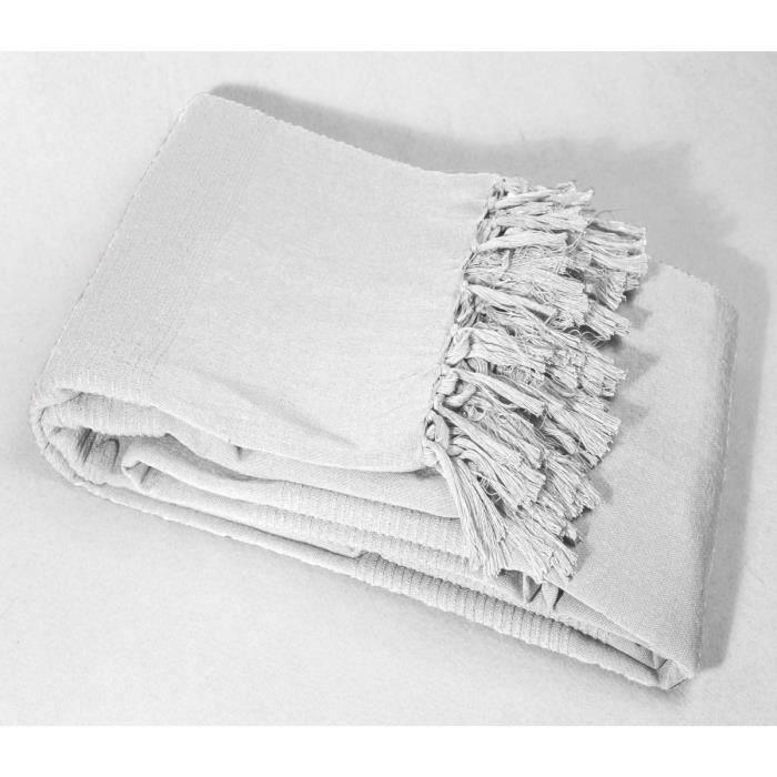 Plaid franges 100 coton 220x240 lana blanc achat vente couverture p - Cherche matelas pas cher ...
