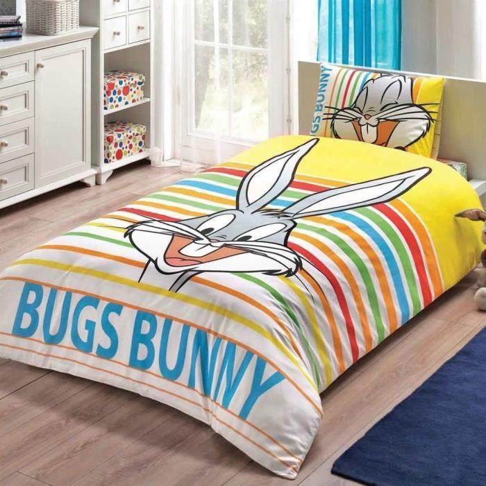 Bugs bunny imprim e 100 coton 1 personne parure de - Housse de couette 160x220 ...